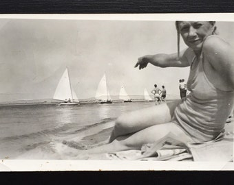 Original Antique Photograph We Watched the Sailboats on the Water