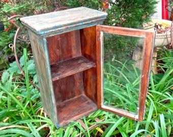 Rustic Cabinet, Boho Chic Cabinet, Wood Shelf Blue Cabinet, Primitive Hutch, Knick Knack Curio Farmhouse Cupboard Boho Furniture Powder Room