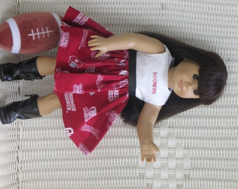 Oklahoma Sooners Doll Dress is made from NCAA licensed fabric for all 18 inch dolls, like the American Girl