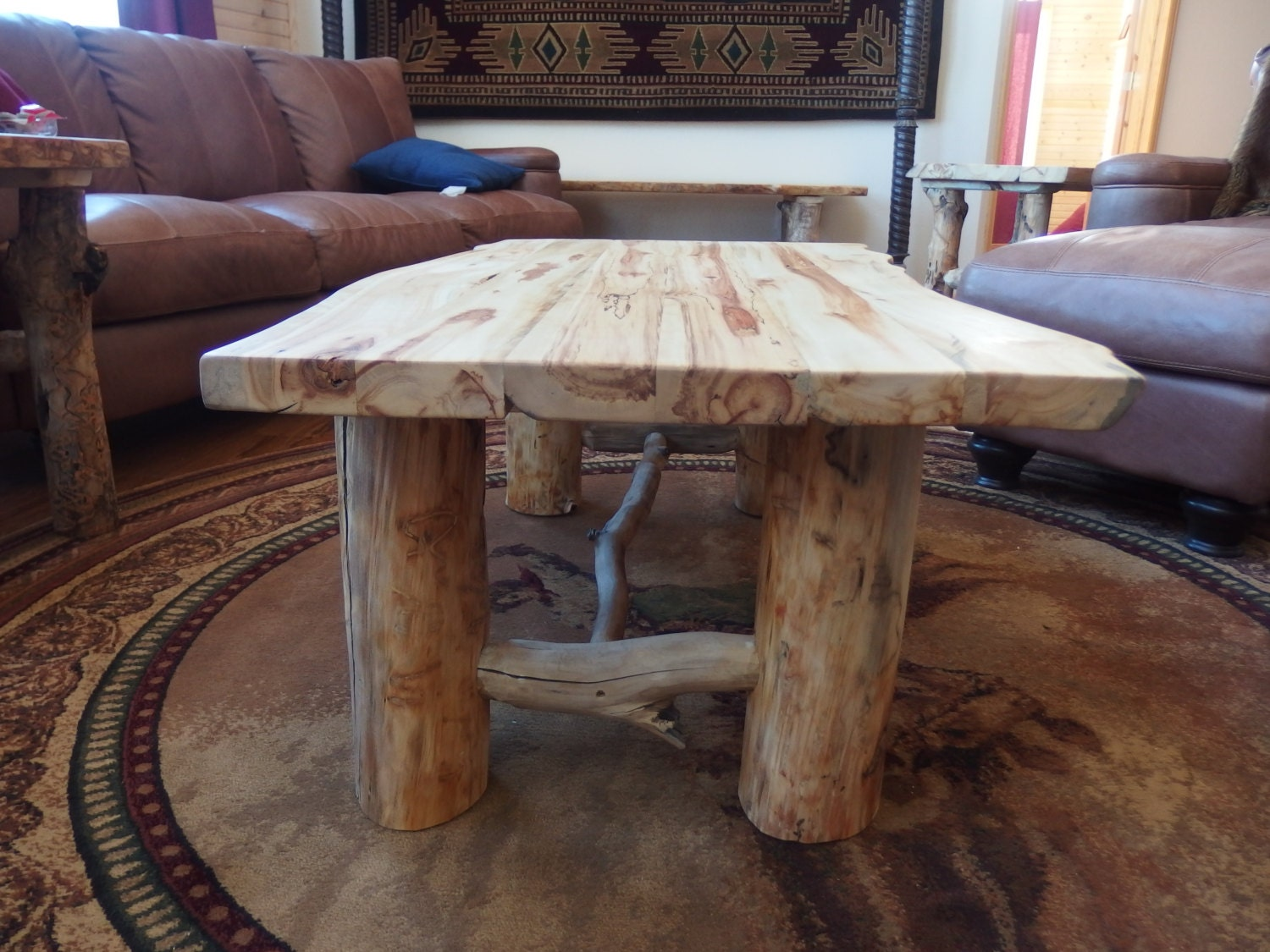 Rustic Decor Aspen Log Coffee Table Log Furniture Cabin