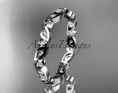 14k white gold diamond leaf and vine wedding band,engagement ring ADLR13B