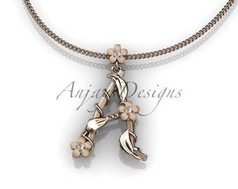 14k  rose  gold   diamond floral,leaf and vine initial pendant ADLR196