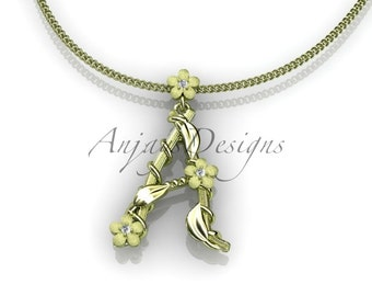 14k yellow gold   diamond floral,leaf and vine initial pendant ADLR196