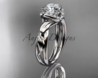 """Platinum diamond leaf and vine wedding ring, engagement ring with a """"Forever One"""" Moissanite center stone ADLR289"""
