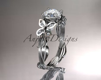 """14kt white gold diamond leaf and vine wedding ring, engagement ring with a """"Forever One"""" Moissanite center stone ADLR251"""