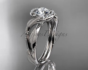 platinum diamond leaf and vine wedding ring, engagement ring ADLR65