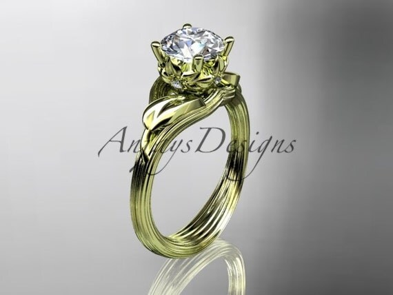 14kt yellow gold diamond flower leaf and vine wedding ring