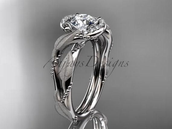 platinum diamond leaf and vine wedding ring, engagement ring ADLR65