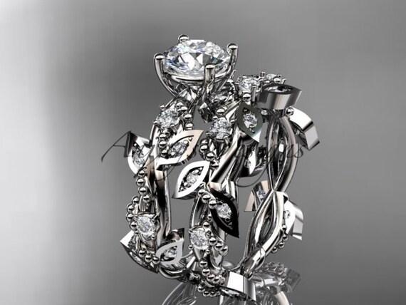 14k white gold diamond leaf and vine wedding ring, engagement set ADLR59S