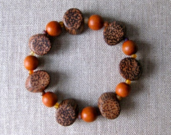 Stretch Bracelet Palm Wood Unique Natural Beading Brown Rust Boho Tribal African Look Ethnic