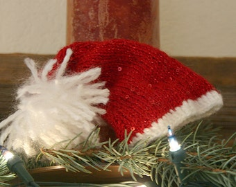 Miniature Santa Hat - Small Mini Cap- Sequinned- Christmas Decor- Red, White- Baby Photo Prop- Made To Order