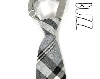 Wool Plaid, white , grey and black neck tie - Baby, toddler boys tie