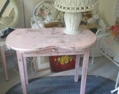 One of a kind Up cycled Child's Vanity, Pink Vanity, Shabby chic, Cottage chic, vintage Pink Table