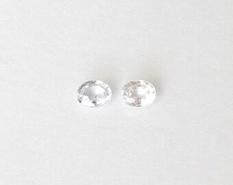 Genuine White Sapphire, Oval Cut, Lot (2) of 0.63 carat