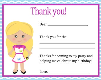 Pottery Birthday Thank You Card ( Blonde Girl)  - Digital file - You print / Pottery Party Thank You Card