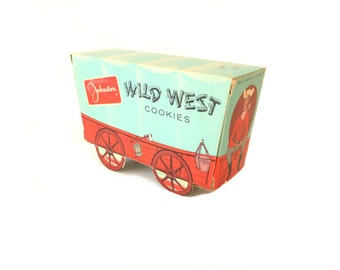 Vintage Johnston Wild West Cookies Box - 1950's Milwaukee Advertising Container - Antique Cardboard Western Cowboy Covered Wagon Collectible
