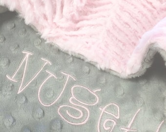Pet Blanket Cream and Pink Minky, Personalized Dog Blanket, Personalized Cat Blanket