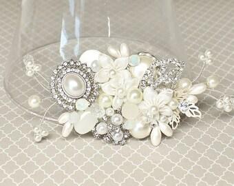 Bridal Hair Comb-Wedding Hairpiece-Pearl Bridal Comb-Wedding Hair Accessories -Bridal Hair Accessory- Off white Hairpiece- Ivory Bridal Comb