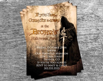 Spooky Grim Reaper Halloween Party or  Birthday Party Invitation Card - Any Color