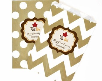 Personalized Thanksgiving Goodie Bags - Favors - Set of 36