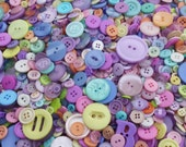 "300 Mixed Pastel Buttons in assorted sizes, styles and shapes, bulk buttons for sewing and crafts, multi sizes 1/8"" up to 1-1/4"""
