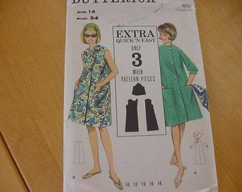 VINTAGE 1960s Butterick Pattern 3227, Misses A Line Button Front Beach Dress, Size 14,  Bust 34, Uncut