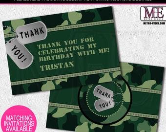 Camo Thank You Cards, Army cards, Camo thank you notes, ArmyThank You Card, Camo Thank you card