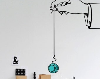 """Yoyo, Vinyl Wall Decal, 24"""" X 36"""", Hand Playing With YoYo Toy, Home Decor, Kids Room Decor, Office Decoration, Wall Sticker - ID05 [p]"""