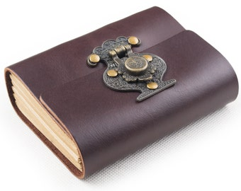 Pocket Leather Journal Notebook Memo with Vintage Flower Vase Lock A7 Blank Craft Paper Dark Coffee Small Gift