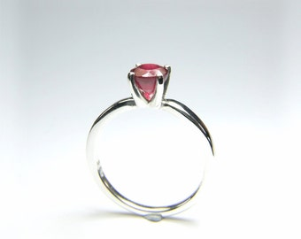 Ruby (6mm Natural Ruby), 6mm x 1.60 Carat, Round Cut, Sterling Silver Solitaire Ring
