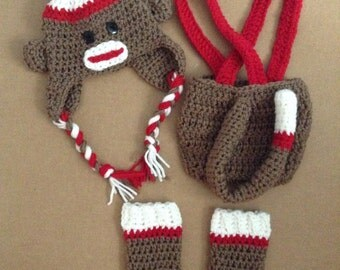 Classic Sock Monkey Outfit - Includes Hat, Diaper Cover and Leg Warmers