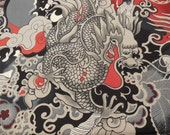 Tatsu Dragon Fabrick Black & Red - Alexander Henry Fabric 1 Yard