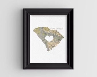"""South Carolina State Digital Art Print - INSTANT DOWNLOAD - Vintage Map - 8"""" x 10"""" and 5"""" x 7"""""""