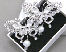 Sweet Vintage Style Butterfly Silver Tone Pearl Dangle Wedding Bridal Hair Clips, Rhinestone Crystal White SWAROVSKI Pearl Silver Hair Clips