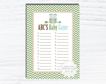 Owl ABC'S Baby Shower Game-Animal Baby Shower Games-INSTANT DOWNLOAD