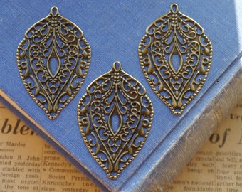 10 pcs Teardrop  Bronze Filigree Setting Base Brooch Cab Setting Wrap Connector Pendant Charm Earring Base 56mm(BFC2624)