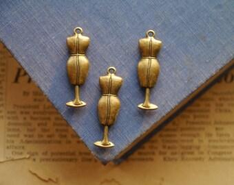 3 pcs HEAVY DUTY Dress Form Manniquenn Antique Bronze Sewing Charm 37mm (BC2647)