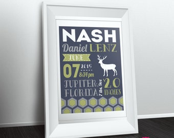 "Customized Deer Geometric Theme Nursery Print - 8""x10"" - LOVELY LITTLE PARTY"