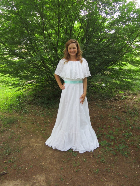 White eyelet cotton wedding dress boho maxi rustic wedding for Boho country wedding dress