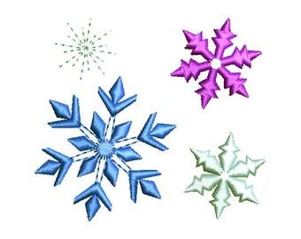 Snowflakes Machine Embroidery Design Set Sparkle Bursts Christmas New Year Frozen Ice Princess CHR031