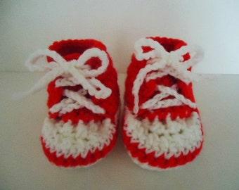 Baby Sneakers Booties Shoes Red Handmade Crochet
