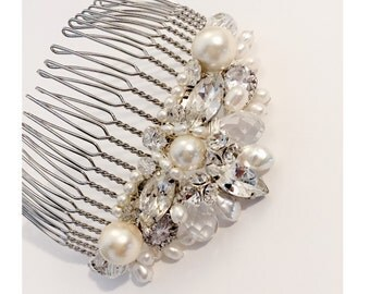 The Elizabeth Bridal Hair Comb, Rhinestone tiara inspired silver pearl and crystal haircomb, art deco hair comb inspired