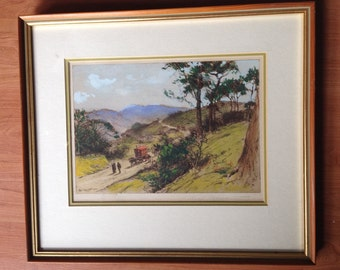 Antique rare Percy Robertson etching print original watercolor of Hindhead signed 7.5x10""