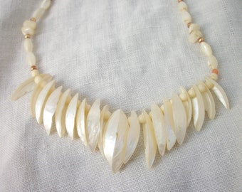 Vintage Mother of Pearl ~ fringe Front Necklace ~ Choker ~ Beaded ~ Shell