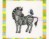 Zebra art print, nursery art, safari animal, african animal art, safari theme, safari decor, kids wall art, nursery decor, baby room art