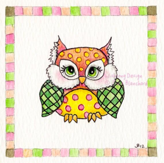 Owl art print, nursery art, whimsical bird, children's painting, kids wall art print, owl decor, owl theme bedroom, woodland animal