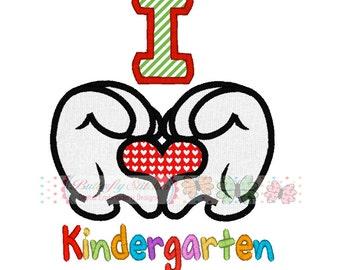 Mouse Hearts Loves Kindergarten School Digital Machine Embroidery Applique Design