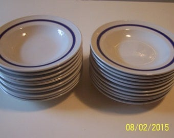 Mayer Set of 20 China Bowls ( Blue rim w/gold trim )