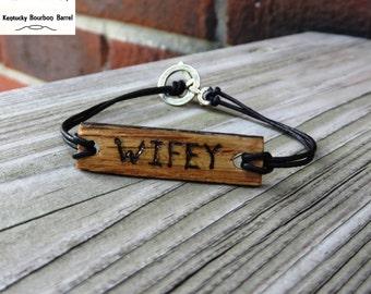 Bourbon Barrel Wood and Leather Bracelet Womens Leather Bracelet Handmade