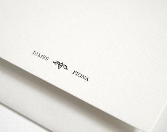 Personalized Couples Stationery - Custom Letterpress Note Cards - Classic Design - Rialto